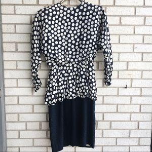 Vintage Lillie Rubin Silk Polka Dot Peplum Dress 6